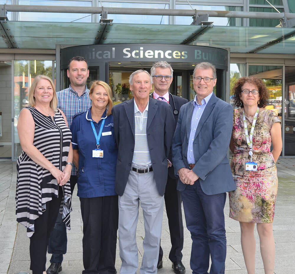 Left to Right: Karen O'Hara (Patient and Chair of the patient support group, Alpha-1 Alliance UK), Michael Bartlett (Patient), Susan Townsend (Ward Sister), Robert Dore (Patient), Dr David Parr (Consultant Respiratory Physician), Mark Pawsey MP and Dr Beatriz Lara (Consultant Respiratory Physician)