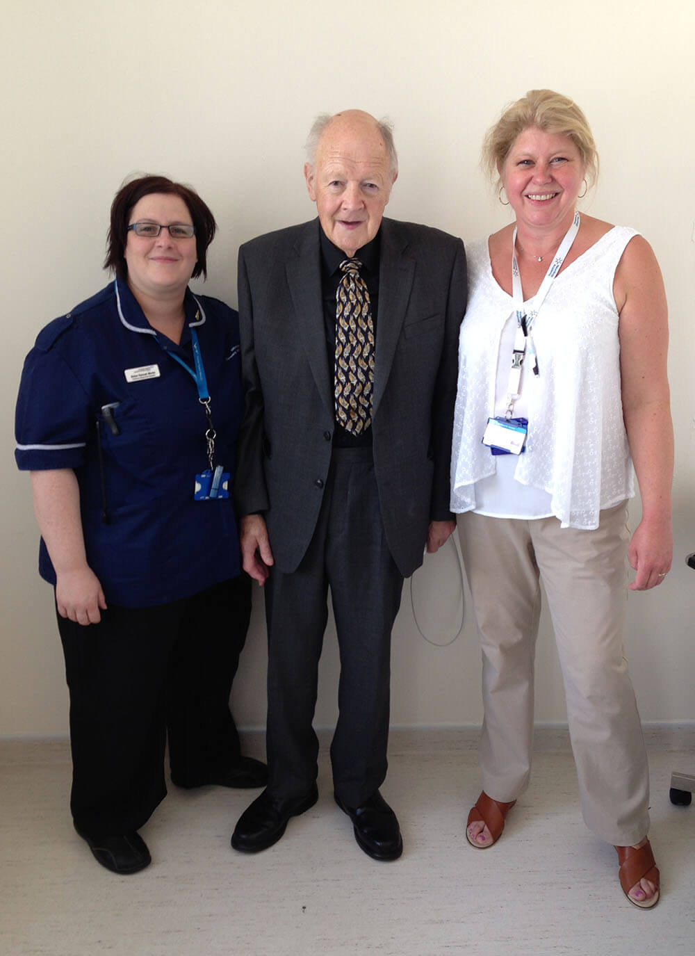 Patient Phil Bagley with Hannah Martin and Dr Andrea Lindahl